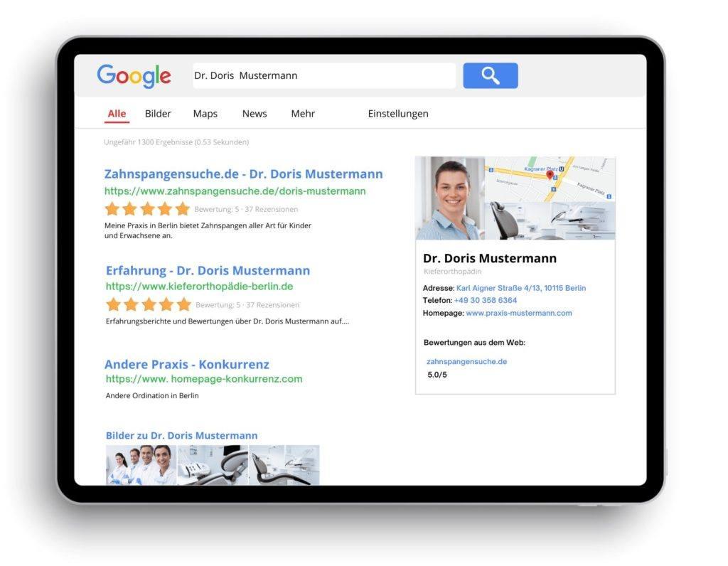 Ranking bei Google Zahnspangensuche.de